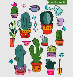 hand drawn colored catus set vector image