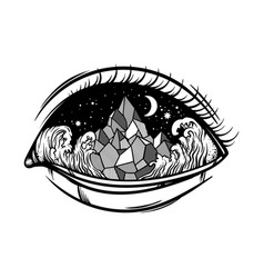 hand drawn of landscape in human eye creative vector image