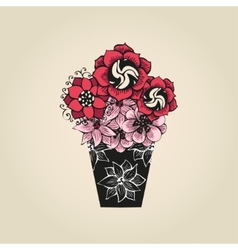 Hand drawn tattoo flowers in black vase vector image