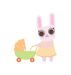 happy family bunnies mother rabbit pushing vector image