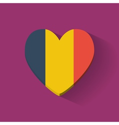 Heart-shaped icon with flag of Romania vector