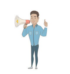 hispanic businessman talking into loudspeaker vector image