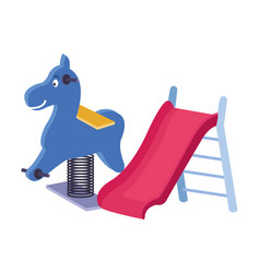 horse and swing playground game vector image