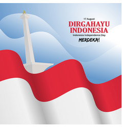 Indonesia independence day background with monas vector