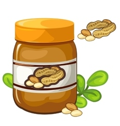 Jar of peanut butter on a white background vector image