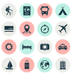 Journey icons set collection of location doss vector