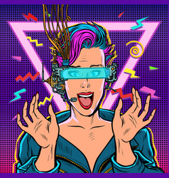joyful woman in vr glasses vector image