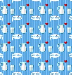Jug and glass with milk seamless pattern vector