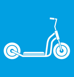 Kick scooter icon white vector
