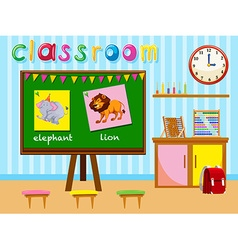 Kindergarten classroom with board and chairs vector