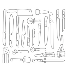 Knifes Outlines icons vector image