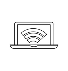 laptop connected to wifi vector image