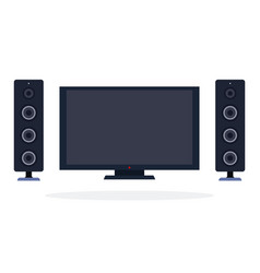 lcd panel and speaker system flat isolated vector image