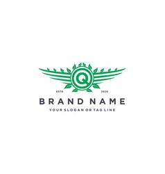 Letter q leaf wing logo design concept vector
