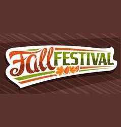 lettering fall festival vector image