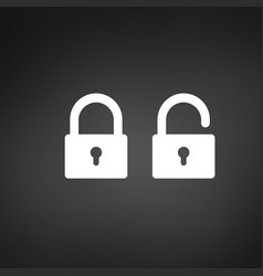 lock icon in trendy flat style isolated on black vector image
