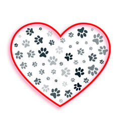 love heart with dog and cat paw prints vector image