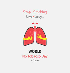 lung cute cartoon character and stop smoking amp vector image