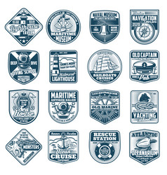 Marine heraldry isolated icons nautical equipment vector