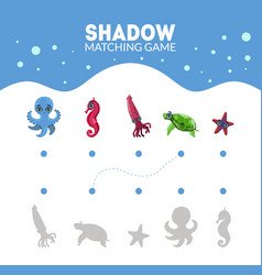 Matching game with cute sea creatures octopus vector