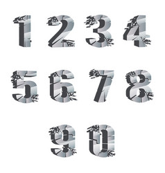 Metall cracked breaking pieces 3d realistic digits vector