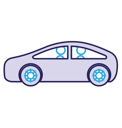 Modern car with driver silhouette vector