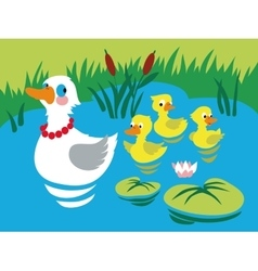 Mother duck with three baducks in pond vector