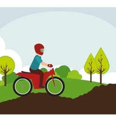 motorcyclist on rural road landscape vector image