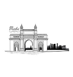 mumbai city india urban skyline with skyscraper vector image