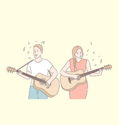 music band playing guitar duet singing concept vector image