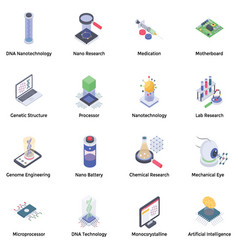 Nanotechnology icons pack vector