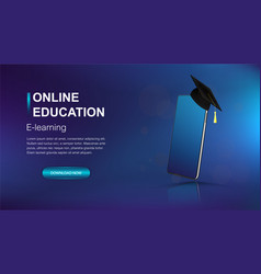 online education modern web banner template vector image