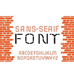 Orange sans-serif modern font vector