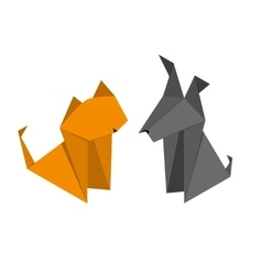 Origami Paper Dog and Cat Set vector