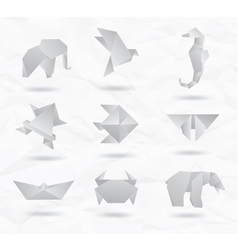 Origami White Animals vector image