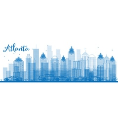 Outline Atlanta Skyline with Blue Buildings vector