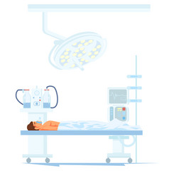 Patient under anesthesia on operating table vector