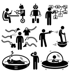 People of the future robot technology stick vector