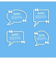 Quote outline speech bubble set vector