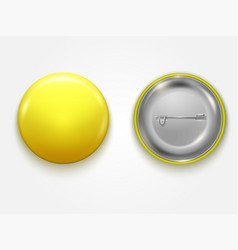 realistic blank yellow badge vector image