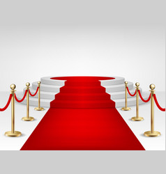 realistic red event carpet gold barriers vector image