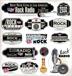 Rock music radio station labels vector