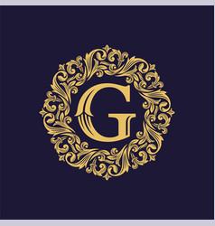 royal luxury heraldic crest logo design vector image