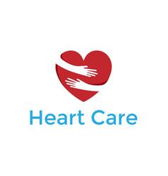 Save care heart love hand hug embrace logo design vector