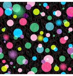 Seamless dark pattern with vivid colorful balls vector