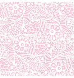 seamless flower paisley lace pattern on pink vector image