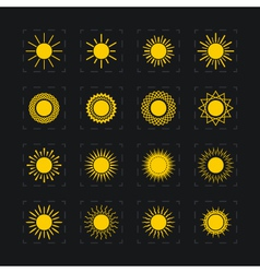 Set of different images of the sun vector image
