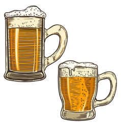 set of hand drawn beer mug on white background vector image