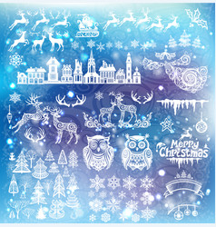 set of silhouette decoration for christmas and new vector image