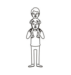 Silhouette caricature young father with boy on his vector